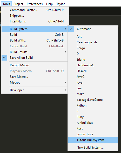 I've named mine TutorialBuildSystem.sublime-build