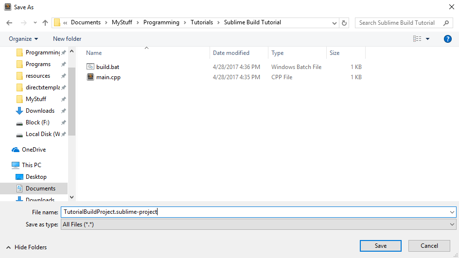 I have a separate folder set aside with the build.bat and main.cpp file in it.