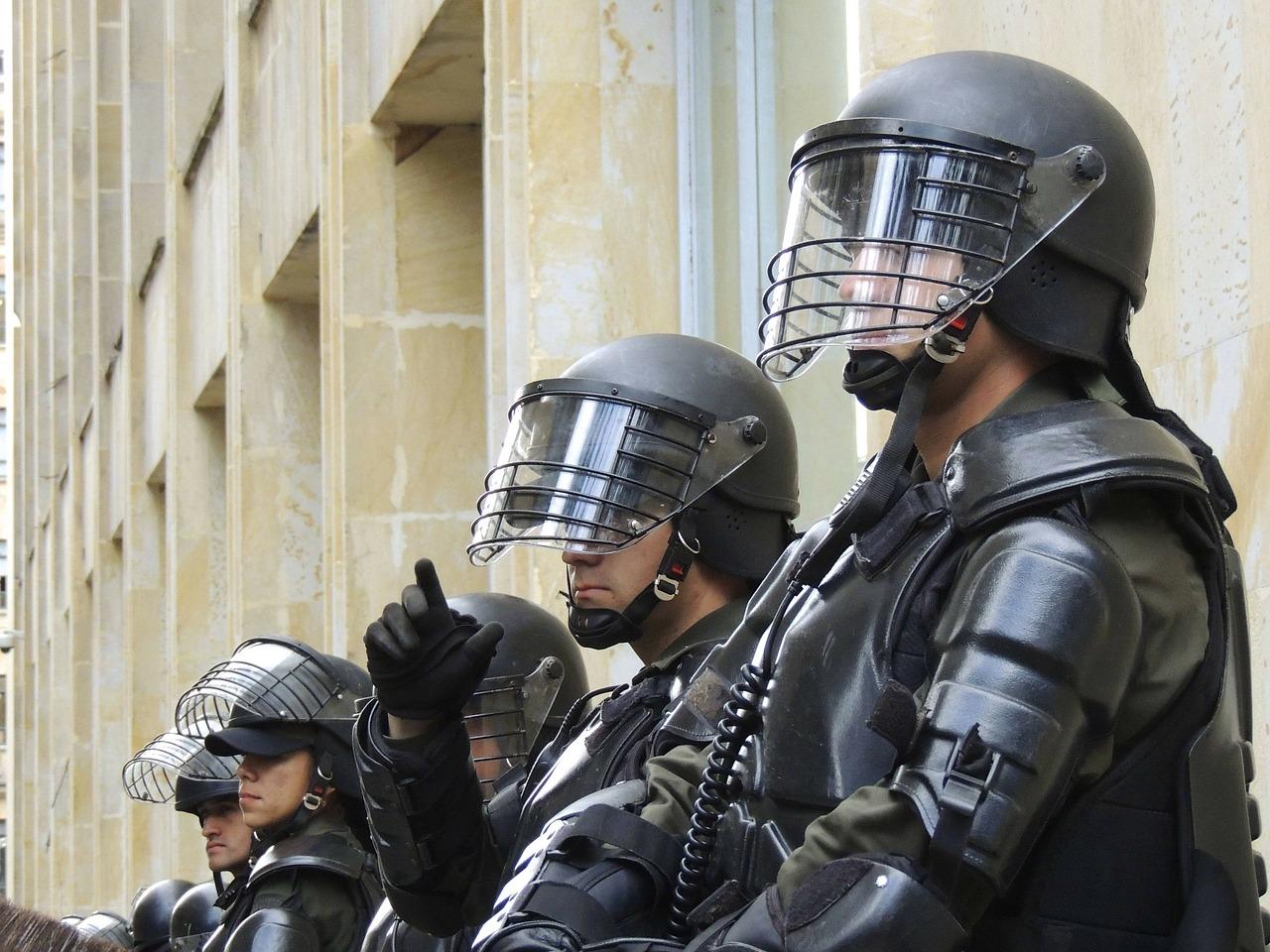 Police in swat gear.