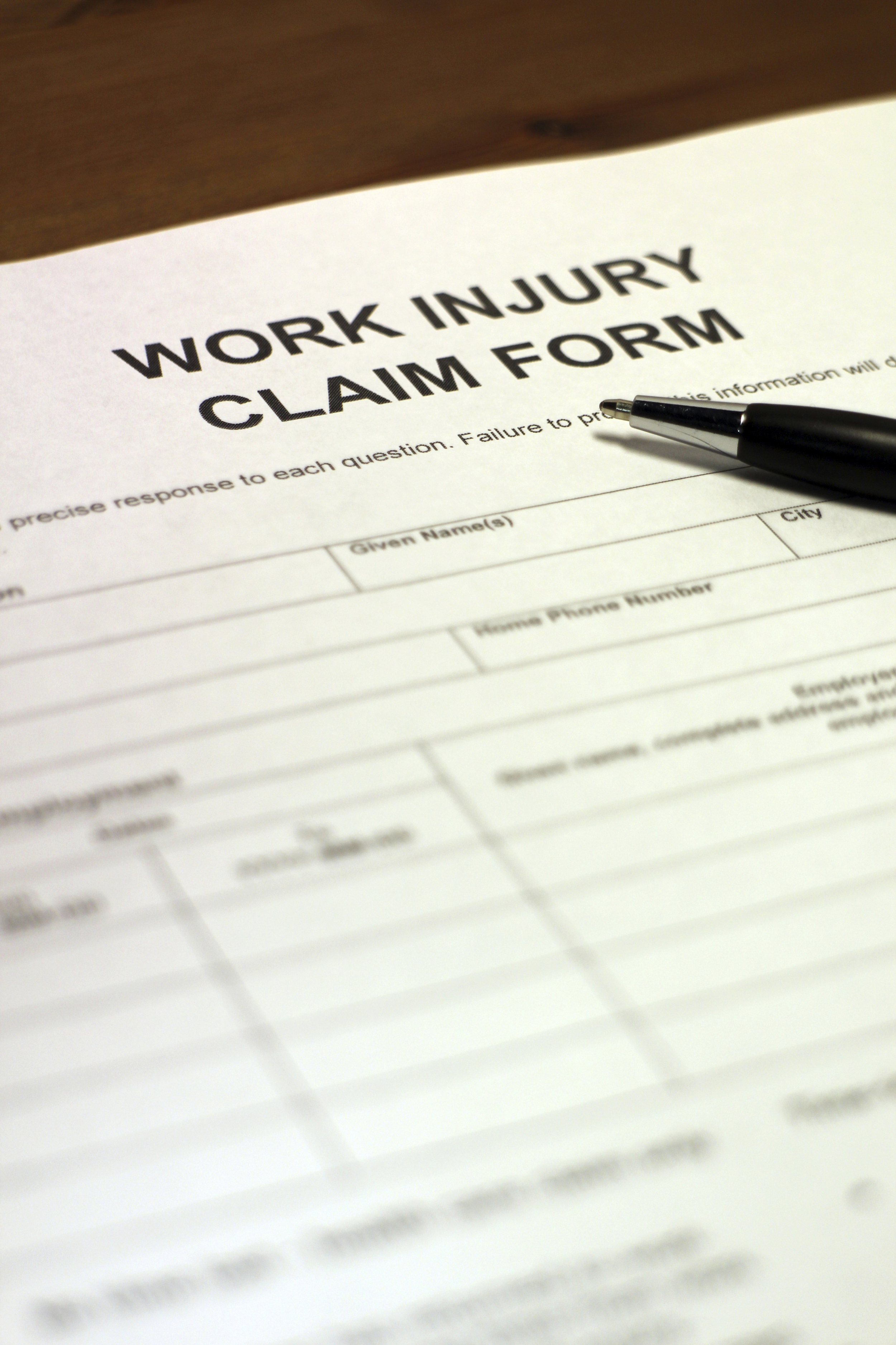 Claim form for filing an injury.