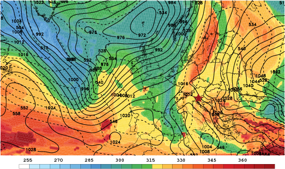 Potential temperature on the dynamic tropopause (2 PVU surface, K, shaded), sea-level pressure (mb, solid contours), and 1000-500 mb thickness (decameters, dashed contours) during the height of the 2014 Slovenia Ice Storm.  The affected region in Slovenia is marked with a red star.      Note the Rex Block pattern (ridge above cut-off low) over Eastern Europe and the strong arctic anticyclone in Russia that helped to funnel near-surface cold air on the south side of the Alps.
