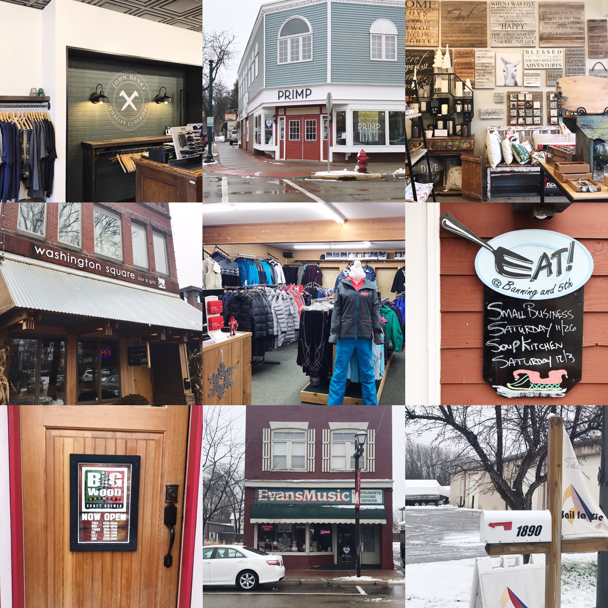 A few of our favorite shops in White Bear Lake (Left to right, top row) John Henry, Primp, Good Things. (middle row) Washington Square Grill, Hi Tempo, Eat! (bottom row) Big Wood Brewery, Evans Music, Sail la Vie.