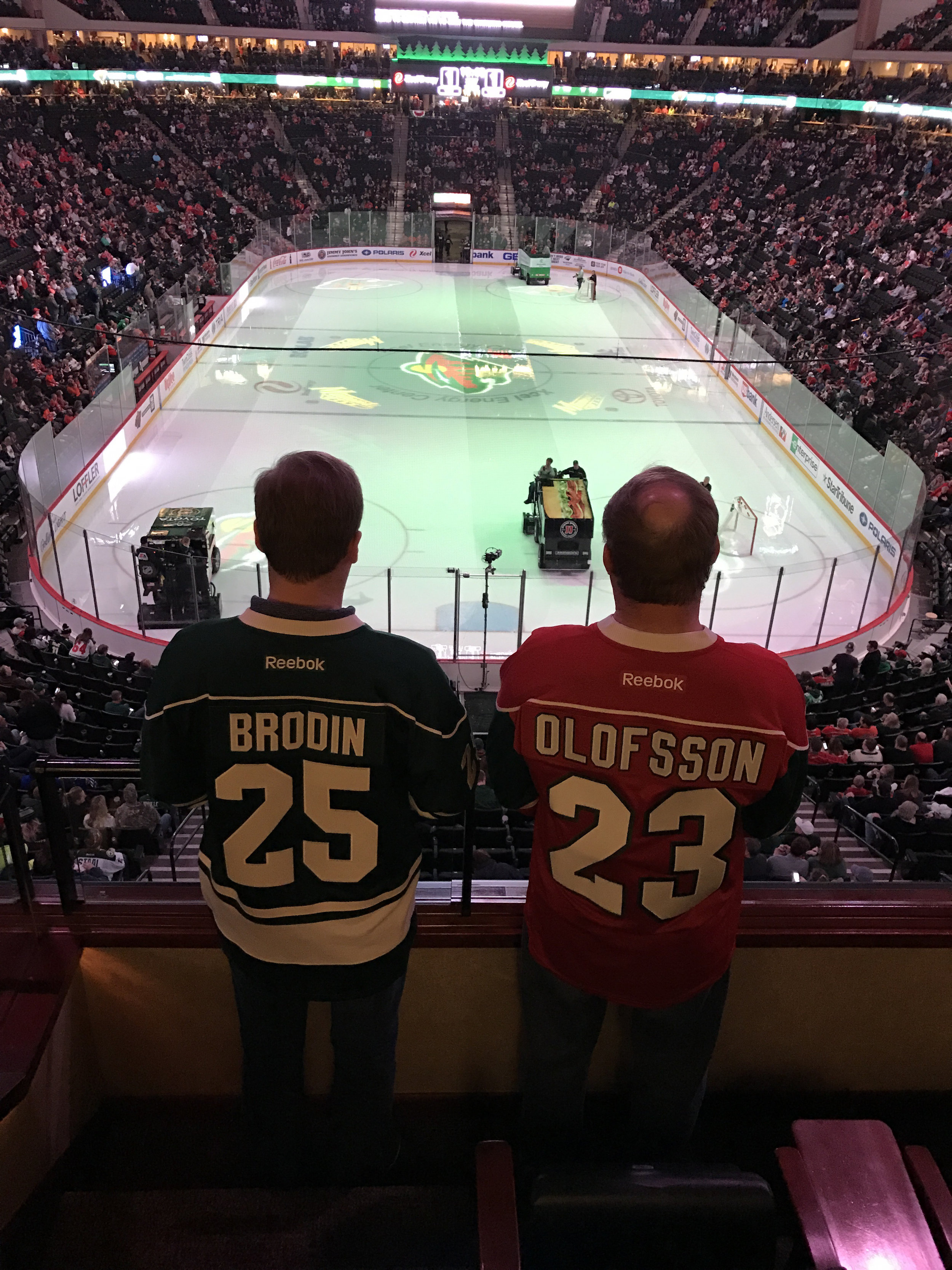 Coincidentally, Brodin and Olfosson were playing on the same D-line tonight. Mark and Sean just picked these jerseys because 25 and 23 are their lucky numbers.