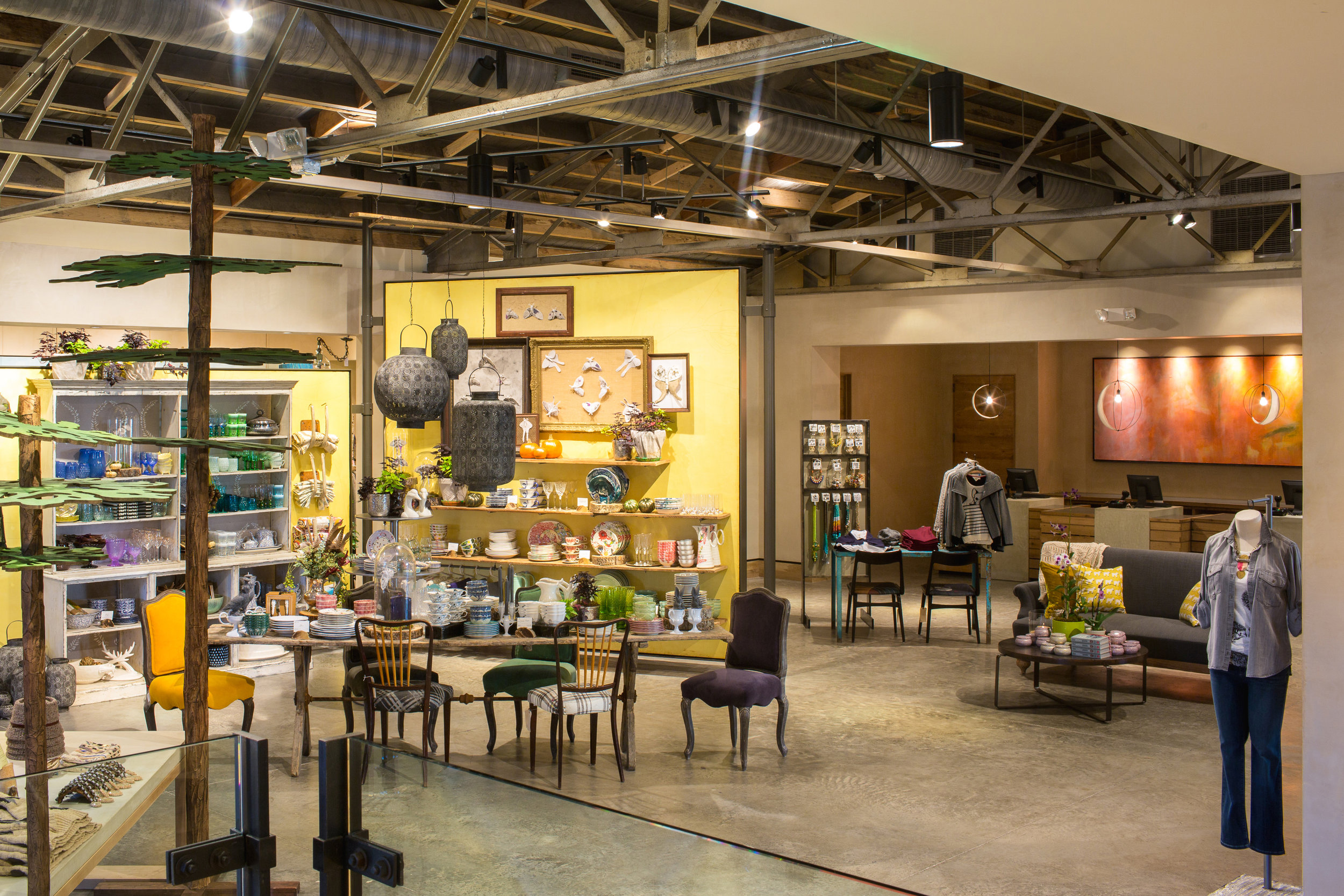 Interior retail area of Anthropologie in Knoxville, created in collaboration with NewStudio Architecture