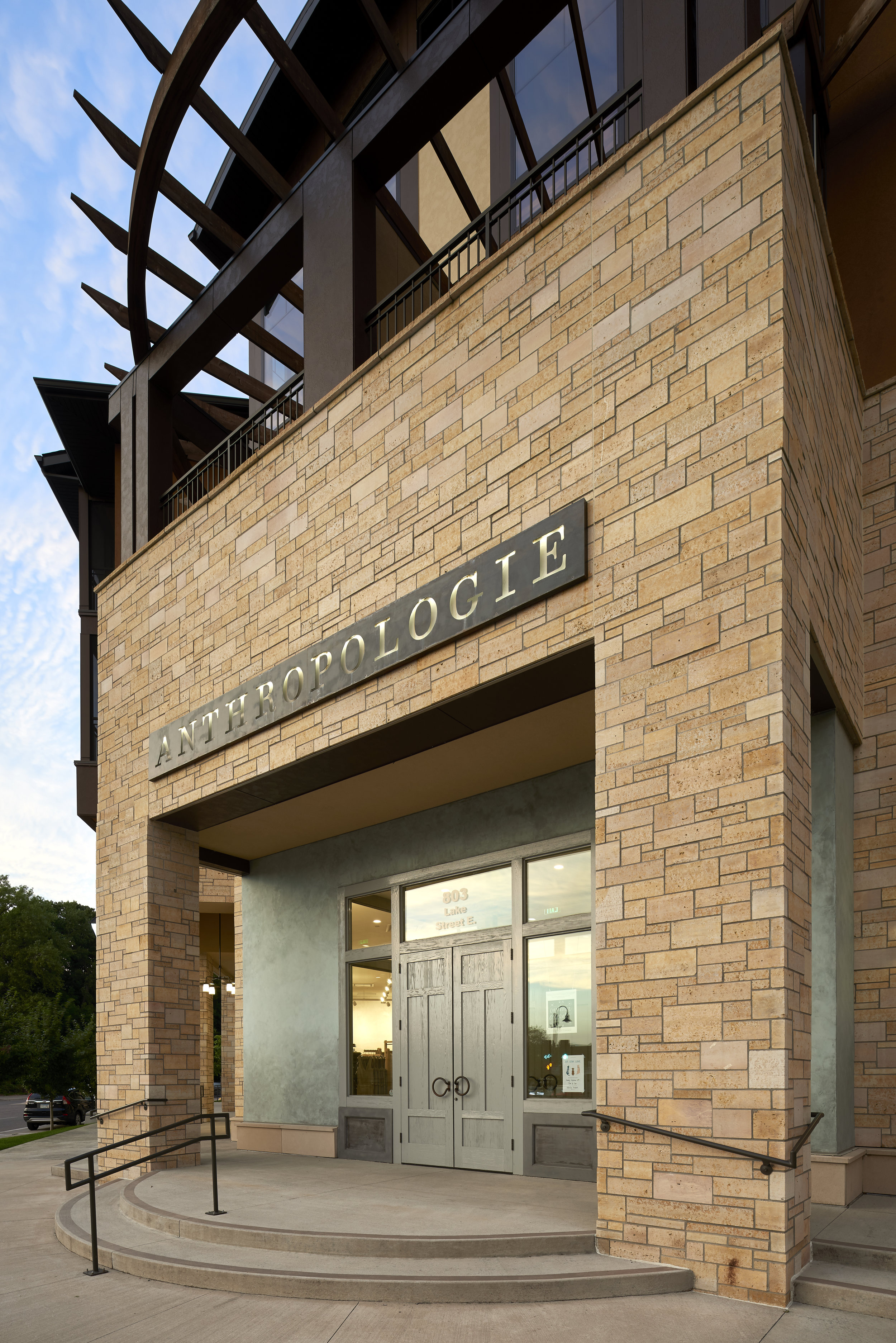 Exterior entry to Anthropologie in Wayzata, Minnesota, created in collaboration with NewStudio Architecture