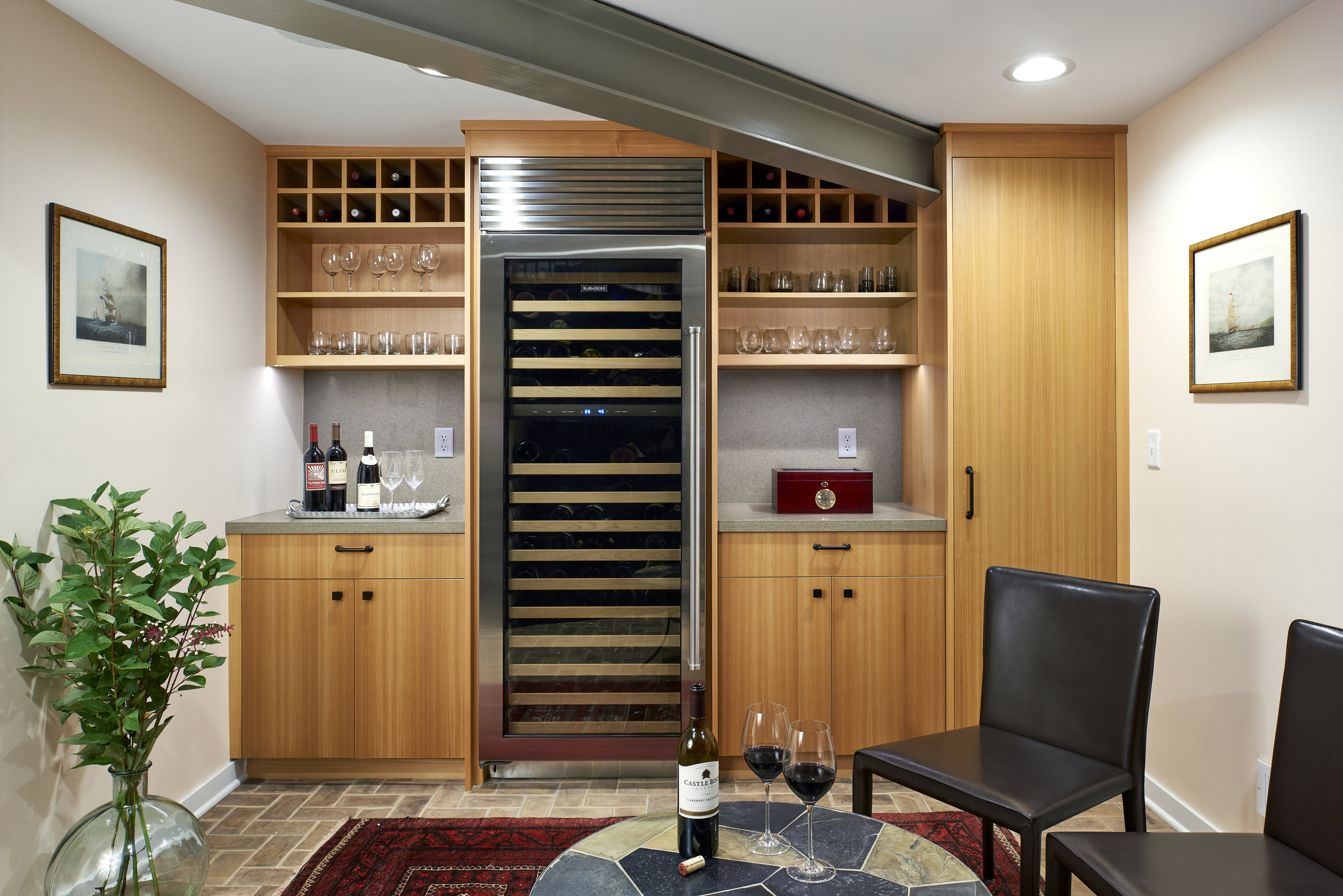 Secret wine and cigar room in Lake Minnetonka home designed by NewStudio Architecture