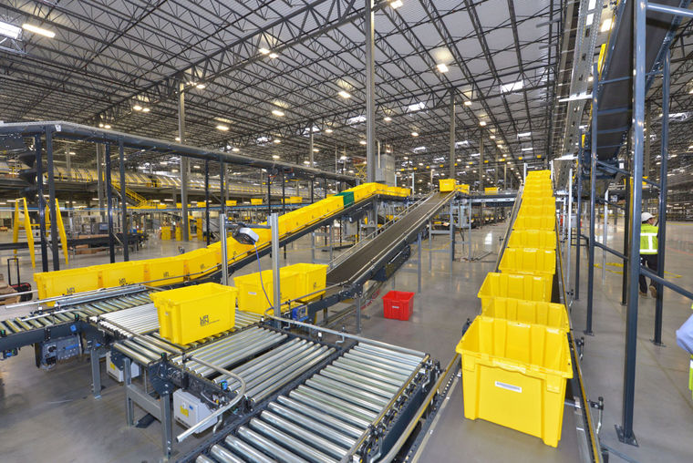 Sophisticated automation inside the URBN Internet Fulfillment Center, designed in collaboration with NewStudio Architecture