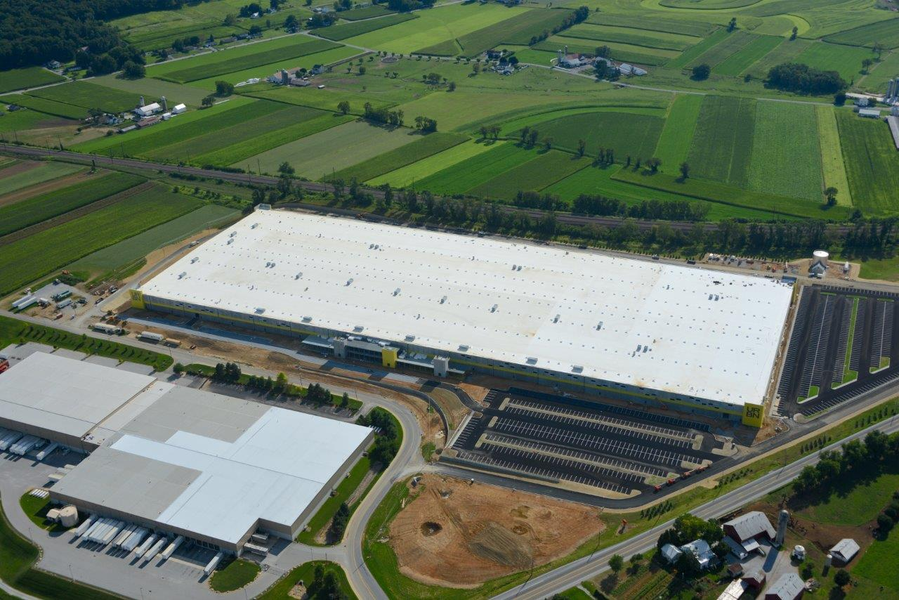 Aerial view of the URBN Internet Fulfillment Center, designed in collaboration with NewStudio Architecture