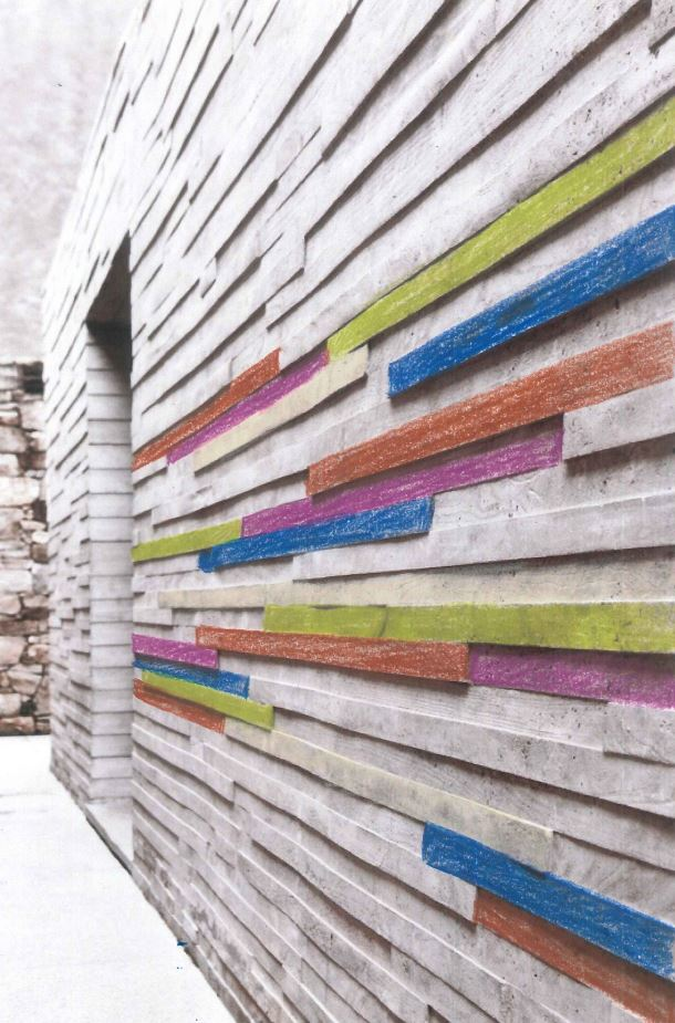 Interior design wall treatment with color bands by NewStudio Architecture
