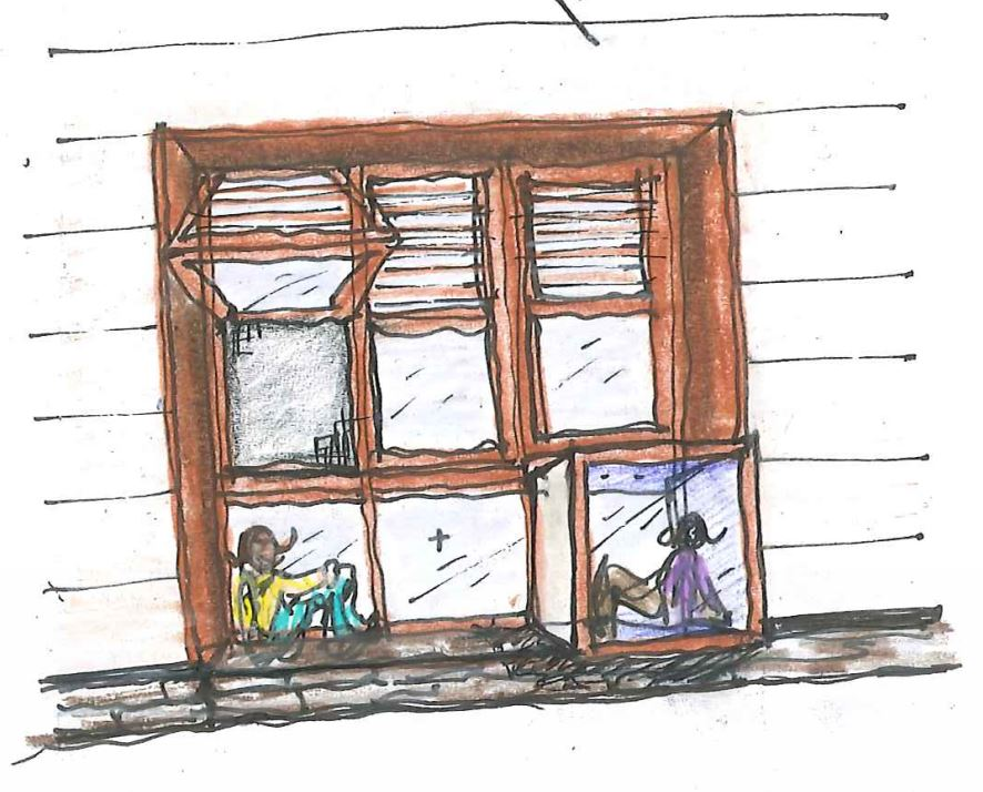 Concept sketch of student window-seat retreat for SCH Academy by NewStudio Architecture