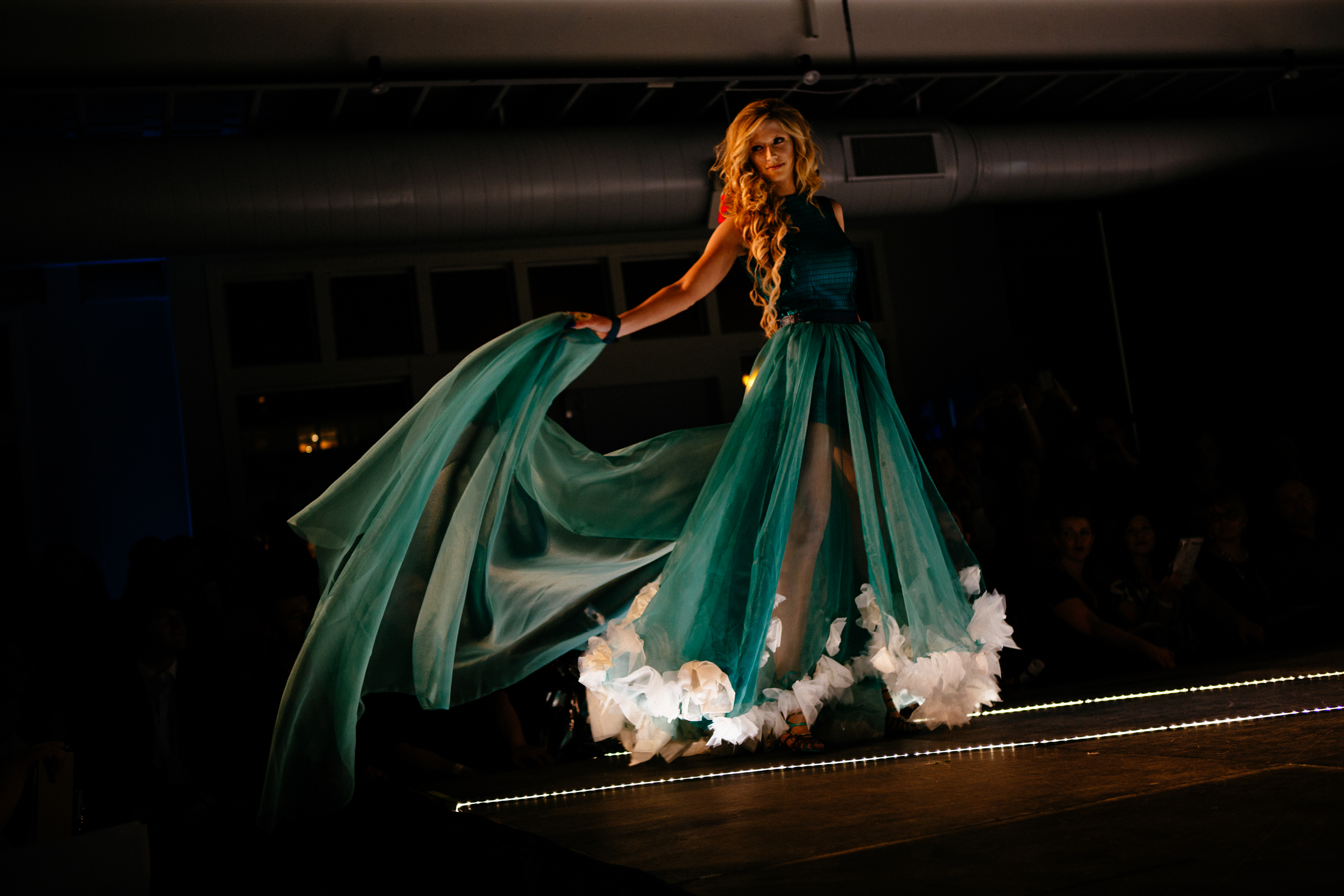 NewStudio Architecture created a flowing ensemble from building and interior design materials for the IIDA Fusion + Fashion fundraiser