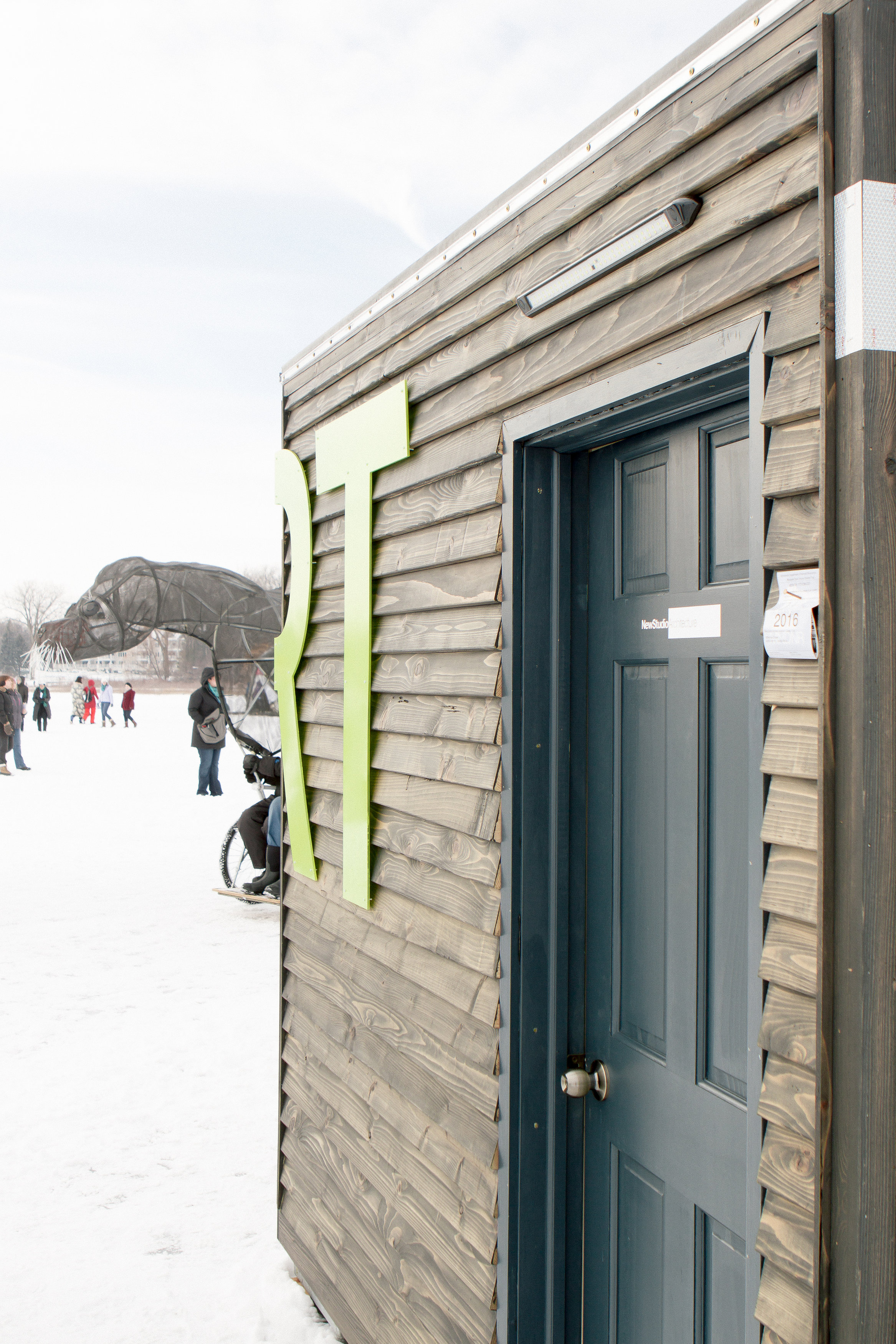 Exterior view of the art shanty designed by NewStudio Architecture