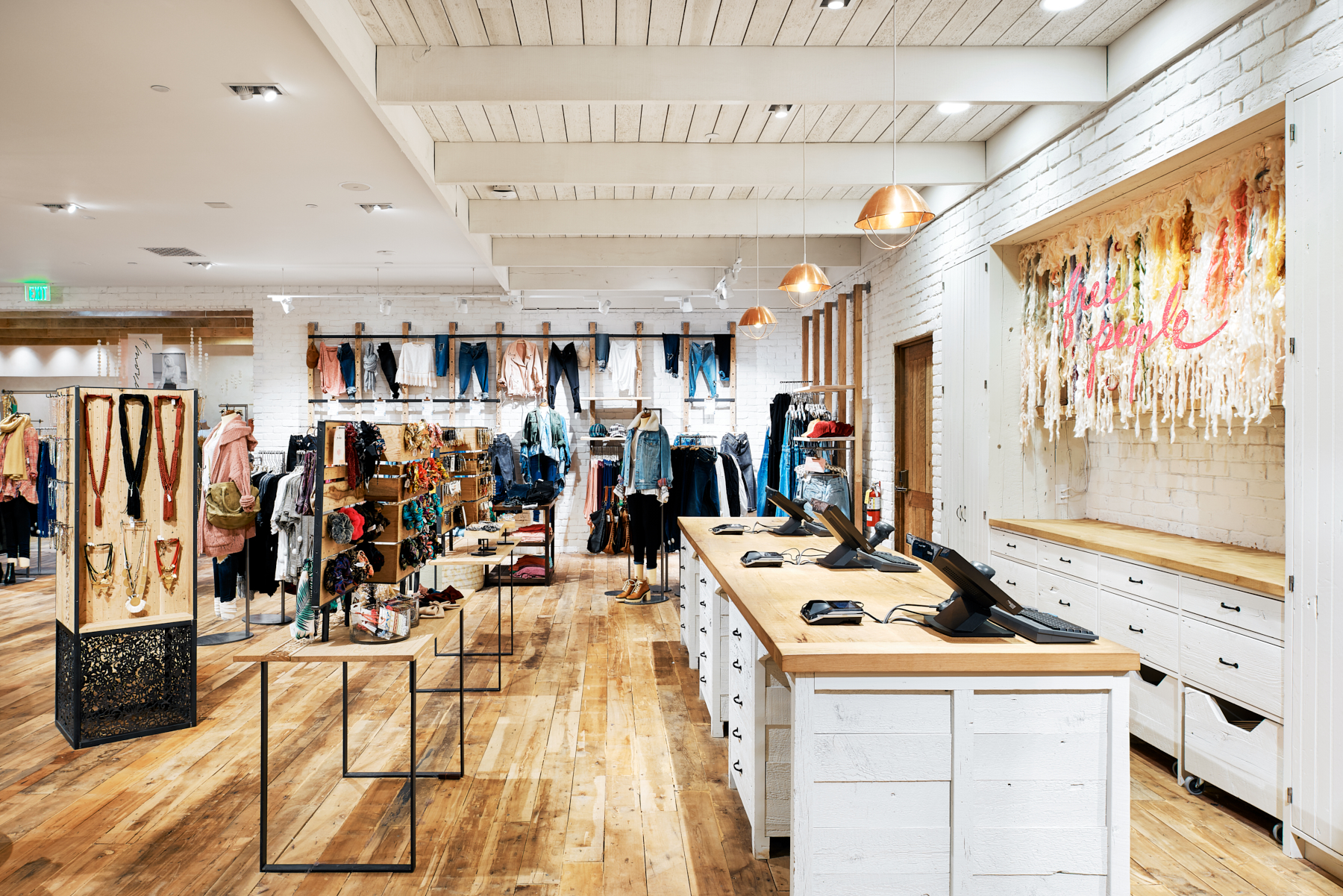 Checkout area of Free People in Edina, Minnesota, created in collaboration with AOR NewStudio Architecture