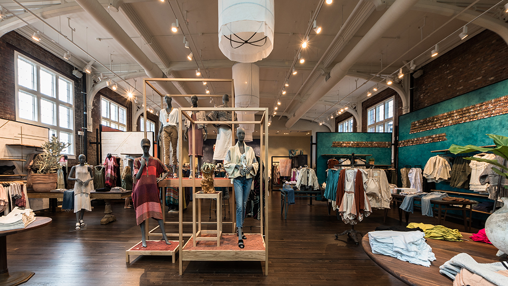 Interior of Anthropologie & Co. shopping experience, created in collaboration with NewStudio Architecture