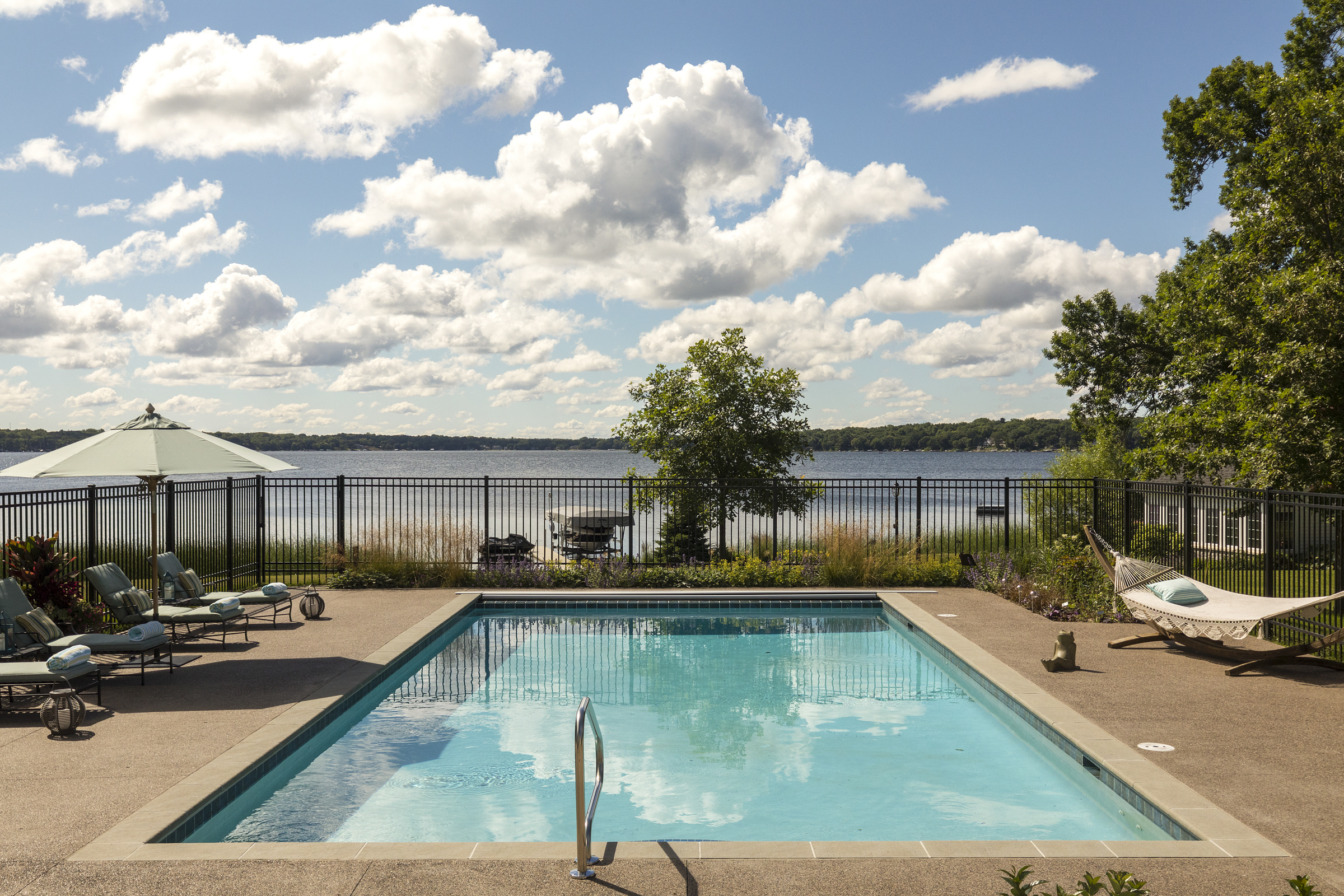 Lake view from pool, designed by NewStudio Architecture