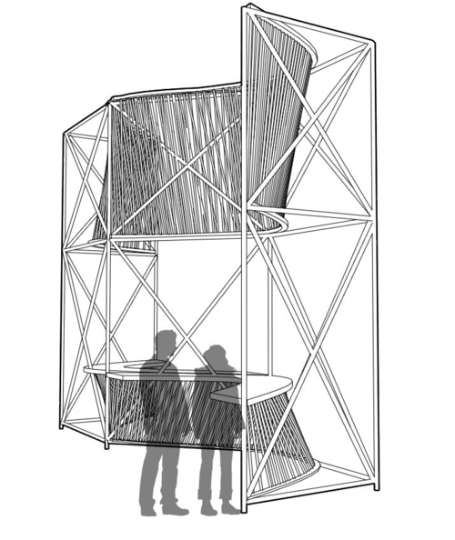 NewStudio Architecture's rendering of a temporary pavilion with a bar and overhead shade using scaffolding and ropes