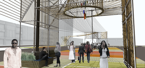 Ropes add texture and shape to scaffolding in this rendering by NewStudio Architecture