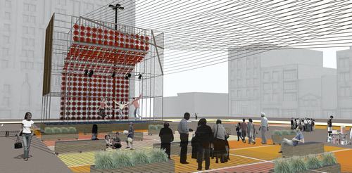 NewStudio Architecture's rendering of a temporary stage using scaffolding and ropes