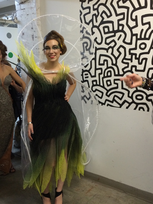 NewStudio Architecture's polyer-mat dress and cape ready for the fashion show
