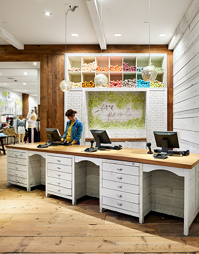 Built-in cabinets at cashwrap area of Free People in MOA, created in collaboration with NewStudio Architecture