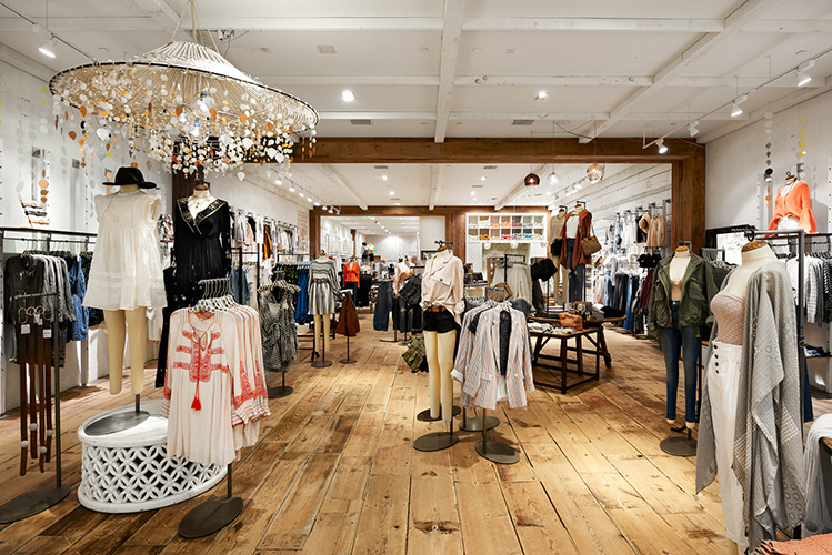 Wood plank floors reflect the Free People brand's aesthetic, created in collaboration with NewStudio Architecture