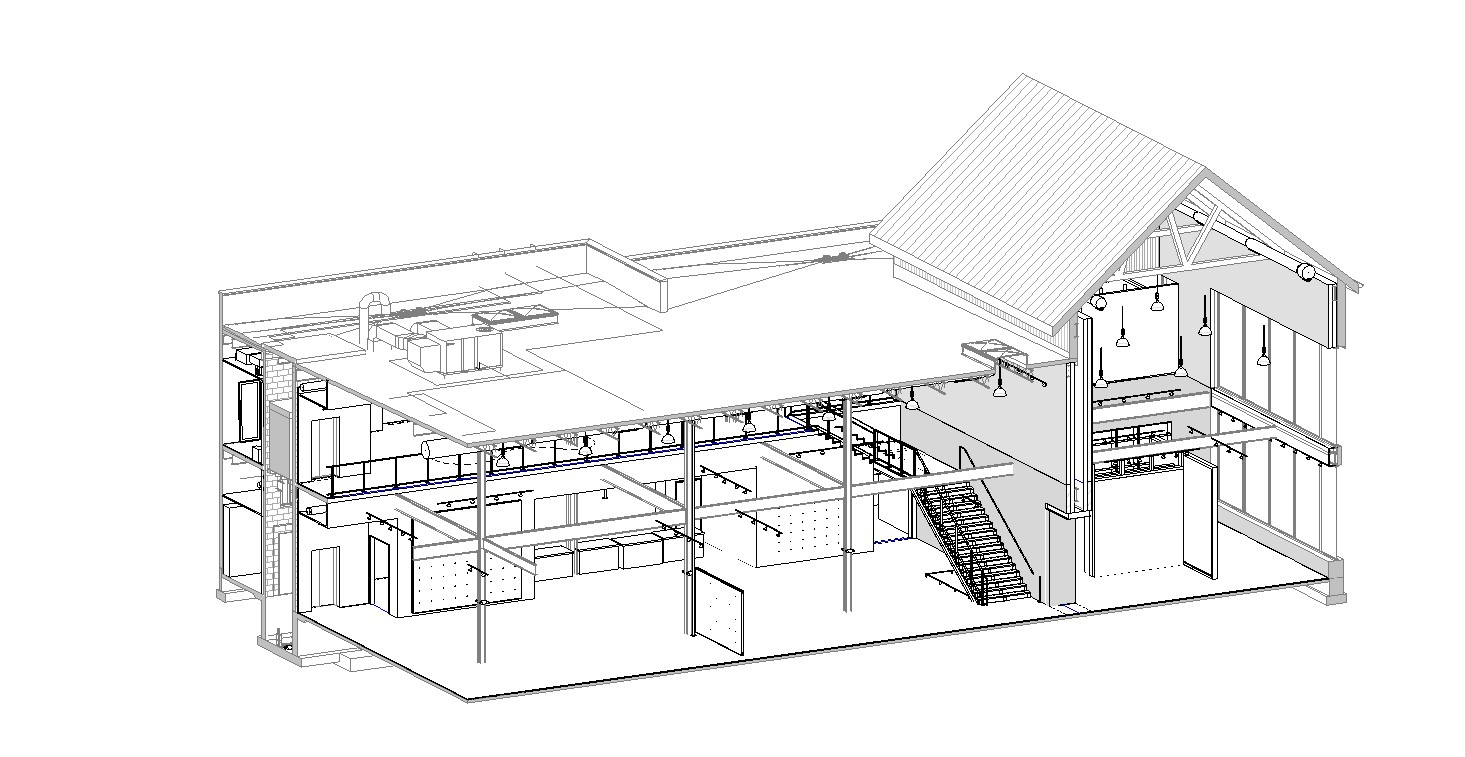 Three-dimensional section view from Revit, the BIM software used by NewStudio.