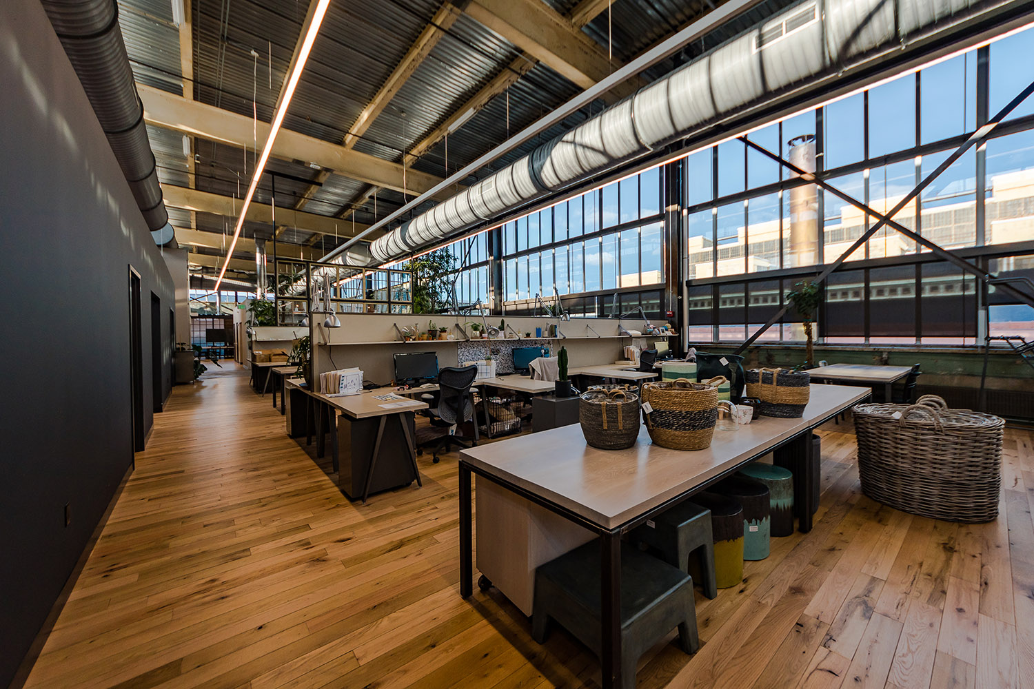 Terrain workspaces and staging area in the adaptive reuse of Navy Yard Building 18 Annex, designed in collaboration with NewStudio Architecture