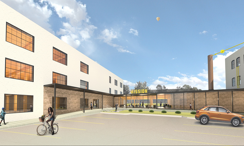 NewStudio Architecture rendering of The Mission building adaptive reuse project in St. Paul's Creative Enterprise Zone