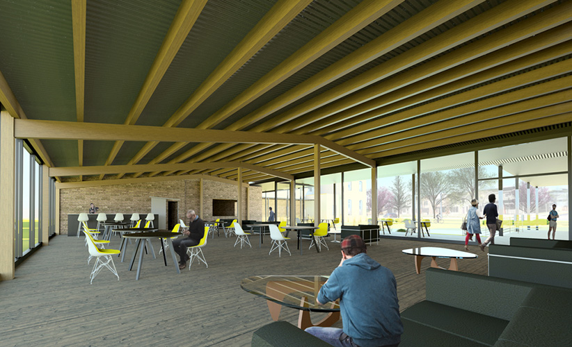 NewStudio Architecture inital interior rendering of The Mission building in St. Paul.