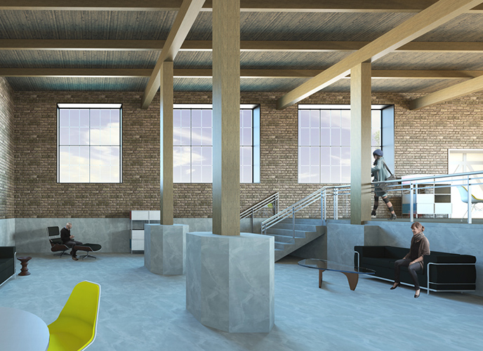 NewStudio Architecture's rendering of The Mission building features exposed brick work and ceilings.