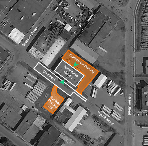 Aerial photograph of NewStudio Gallery and adjacent parking lots.