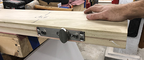 The bottom, fully-mortised pivot hinge straight from the Netherlands. Manufactured by  FritsJurgens  and a fitting name for a door. The hinges and hardware were all mortised into built-up hardwood blanks.