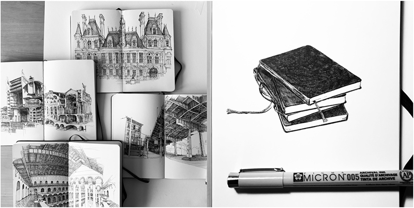 Sketchbook drawings by Vi Luong