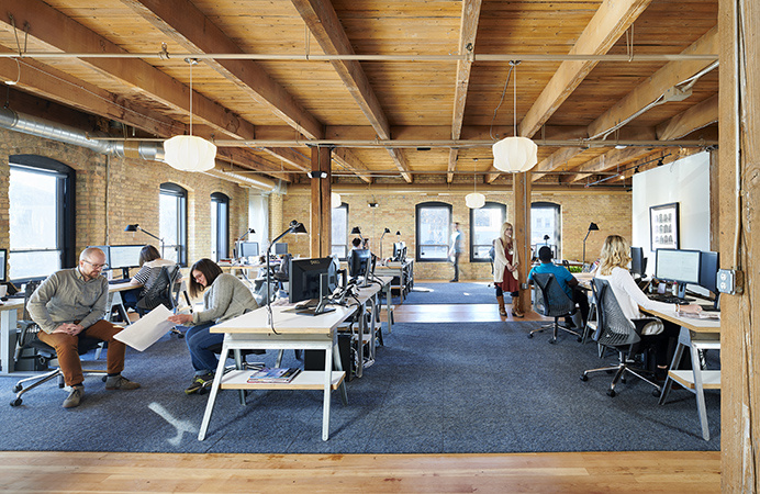NewStudio Architecture features a large open office setting at their Saint Paul, Minnesota office.