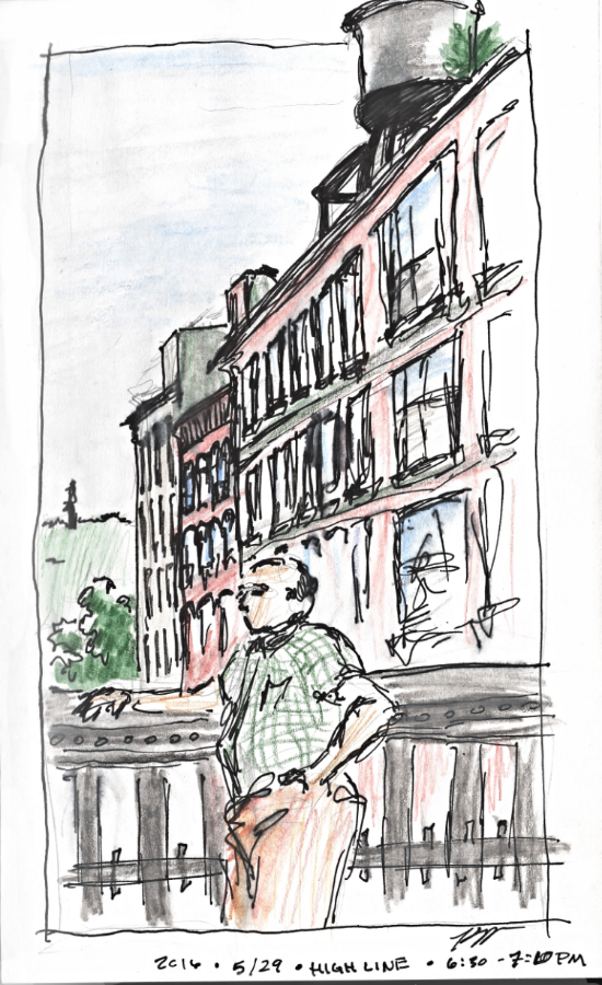 Observational Sketch at the High Line - Memorial Day Weekend