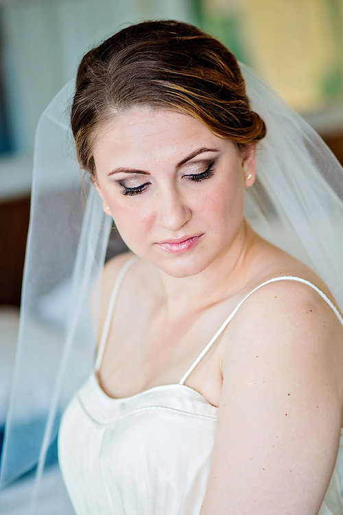 Bridal portrait, showcasing eyeshadow and wedding makeup - Luxe By Lindsay Photography, Charleston, South Carolina