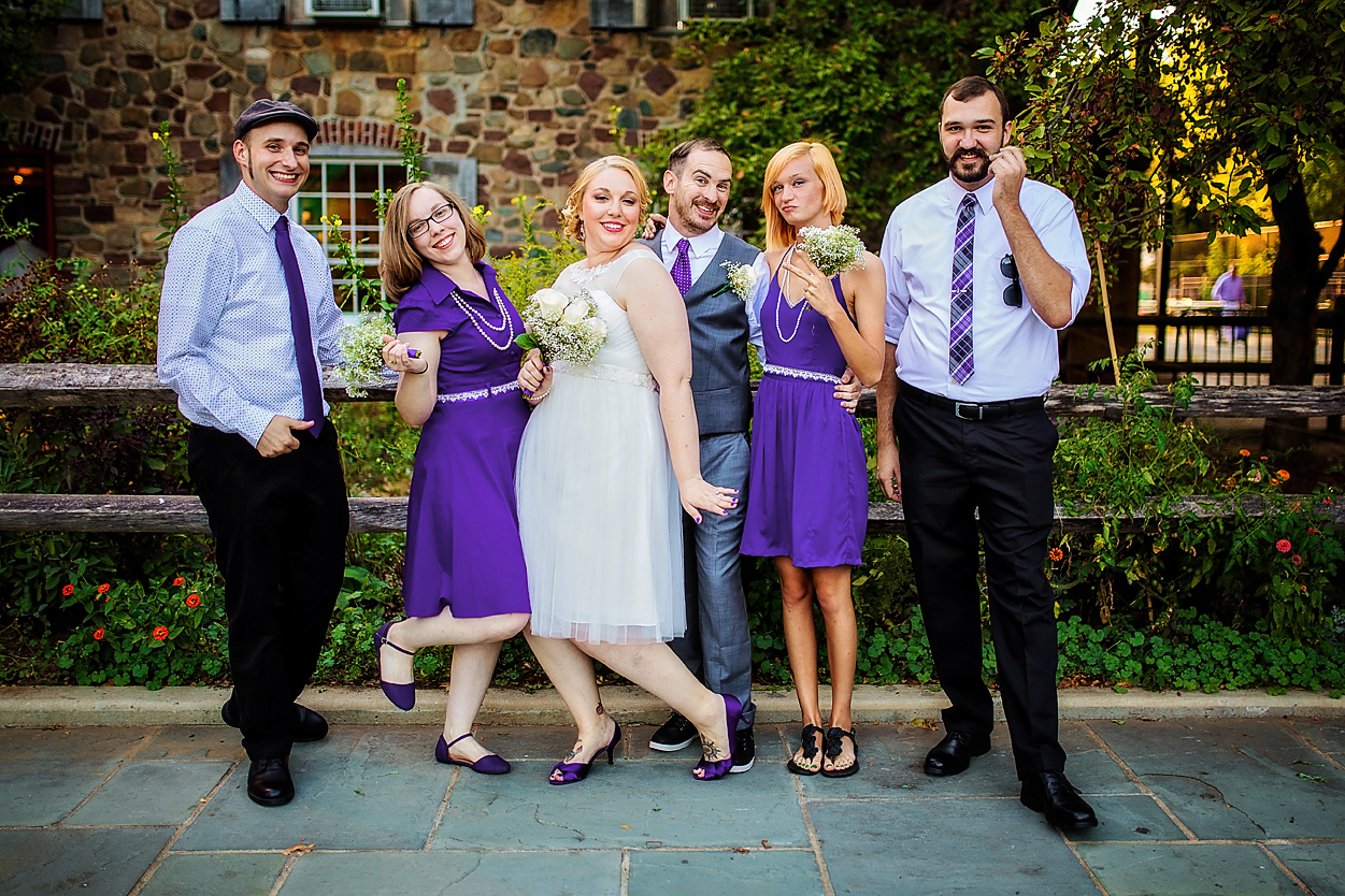 Offbeat, unique wedding party in purple attire - Luxe By Lindsay Photography, Charleston, South Carolina