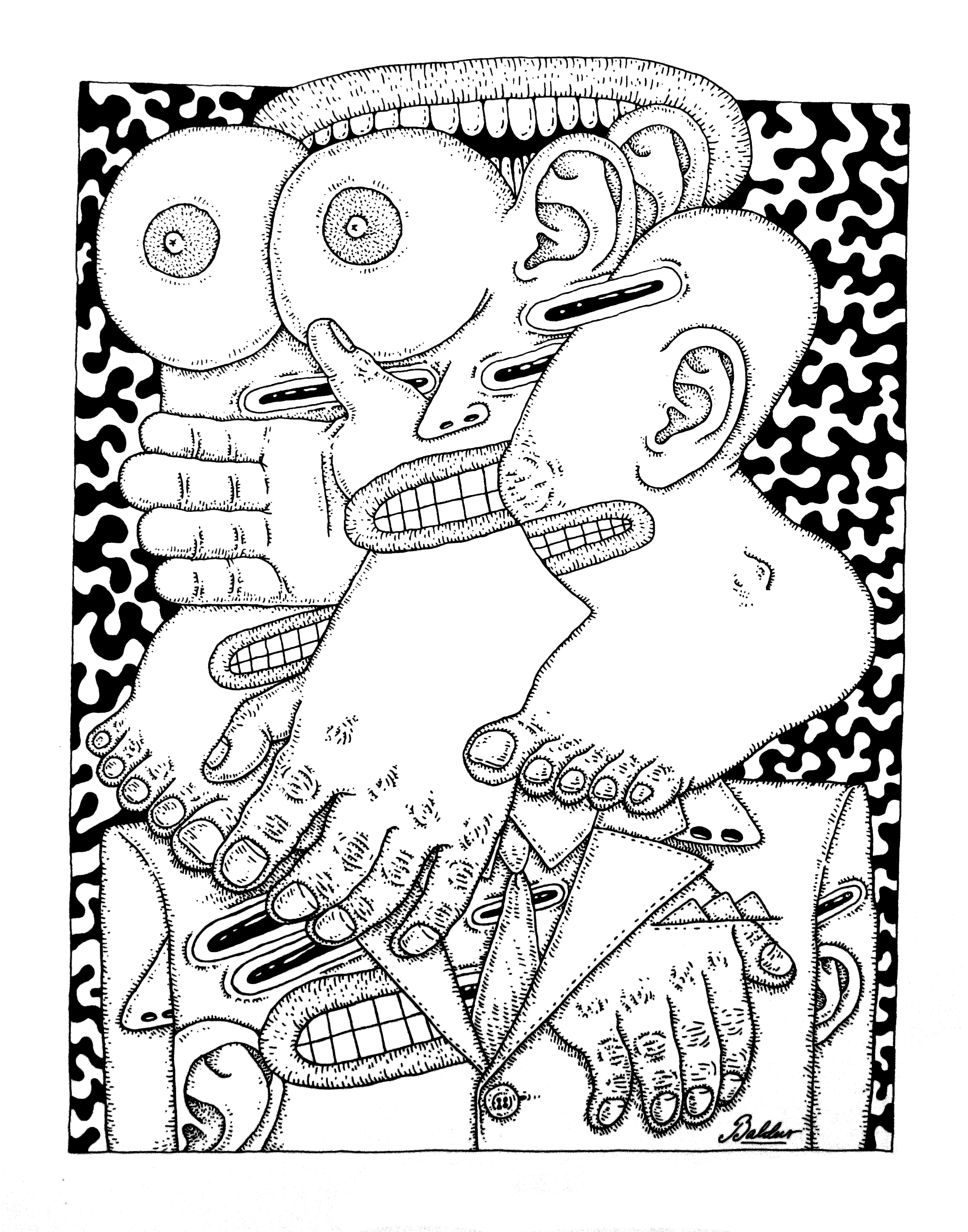 Pleased to Meat You  Pen & Ink on Paper, 14x17 2017