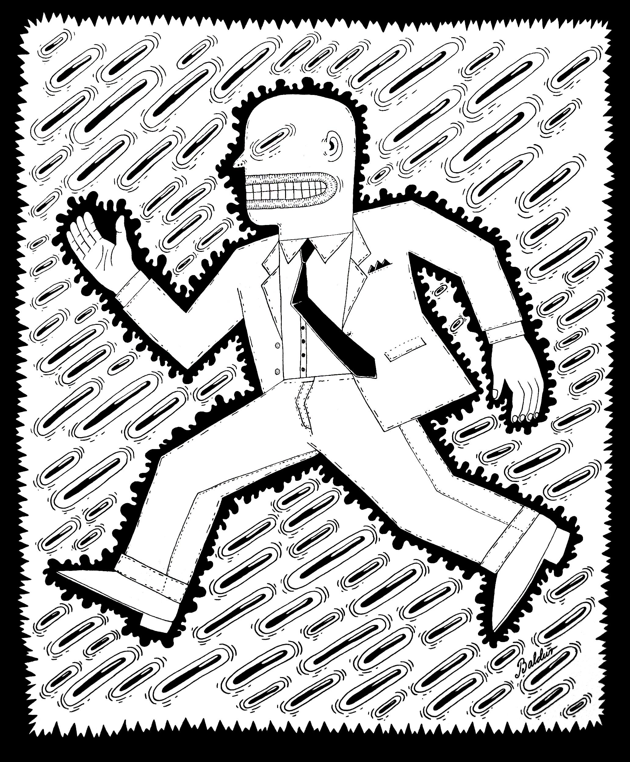 Running Man  Pen & Ink on Paper, 14x17 2017