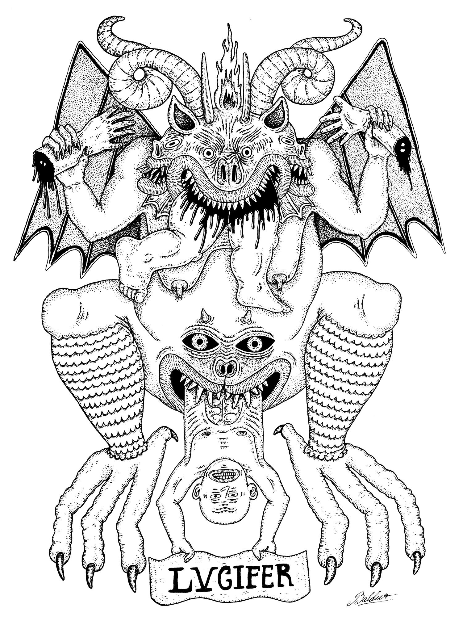 Lvucifer  Pen & Ink on Paper, 14x17 2016
