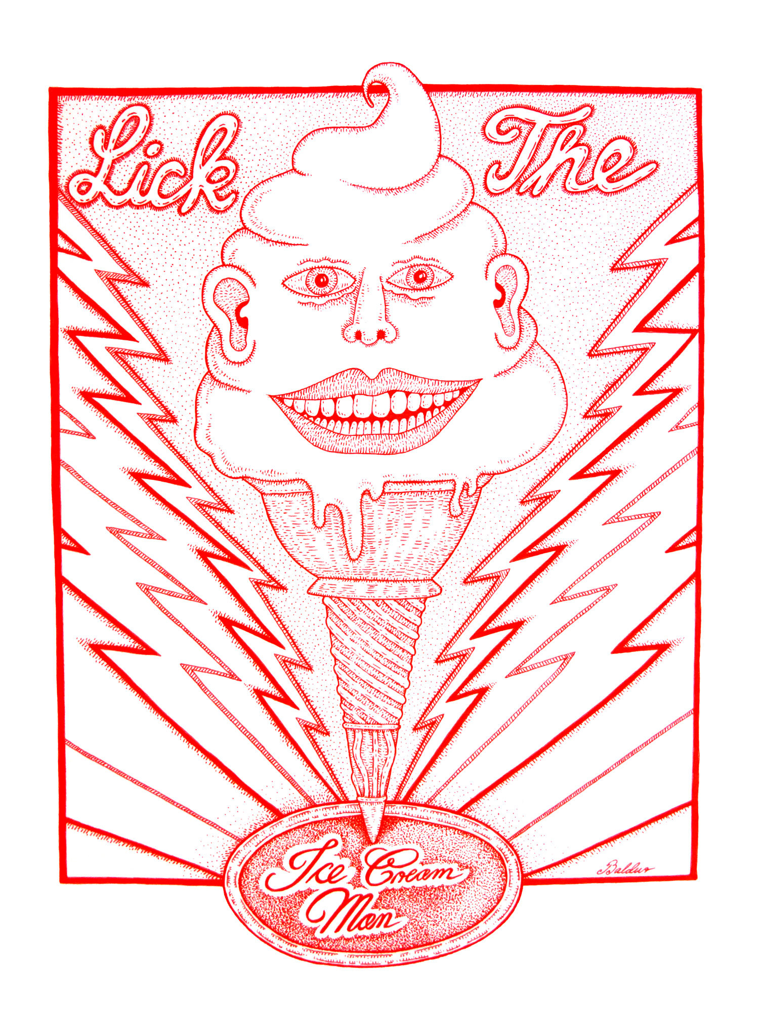 Ice Cream Man  Pen & Ink on Paper, 14x17 2016