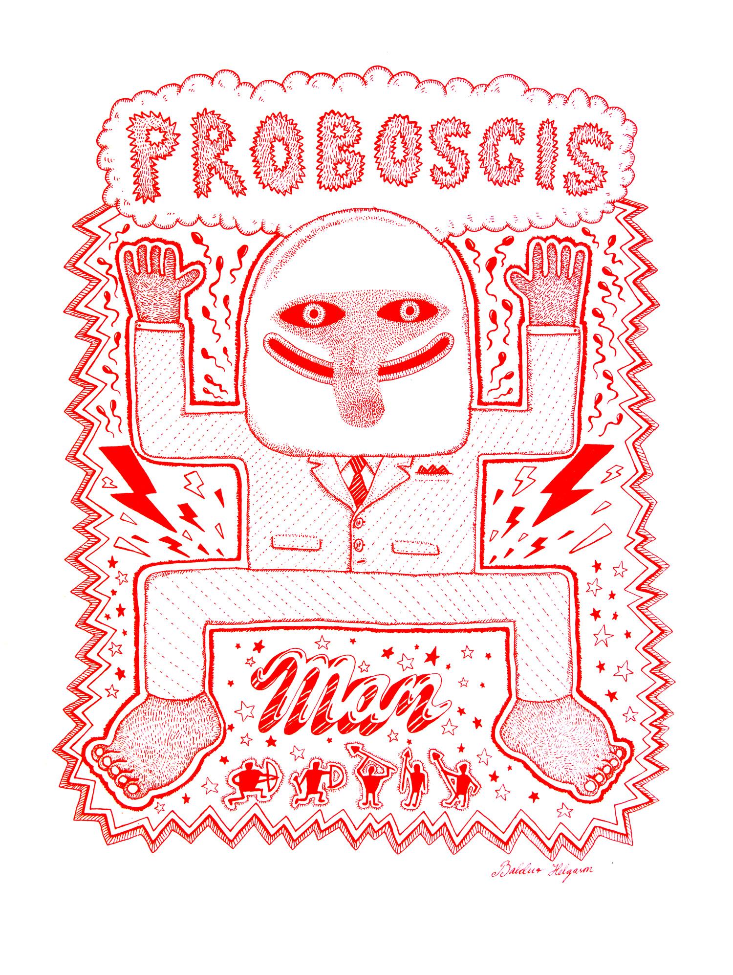 Probiscis Man  Pen & Ink on Paper, 14x17 2016