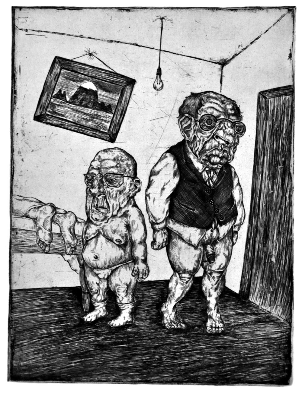 Portrait of Three Gentlemen  Hard Ground Etching on Paper, 11x14 plate 2012