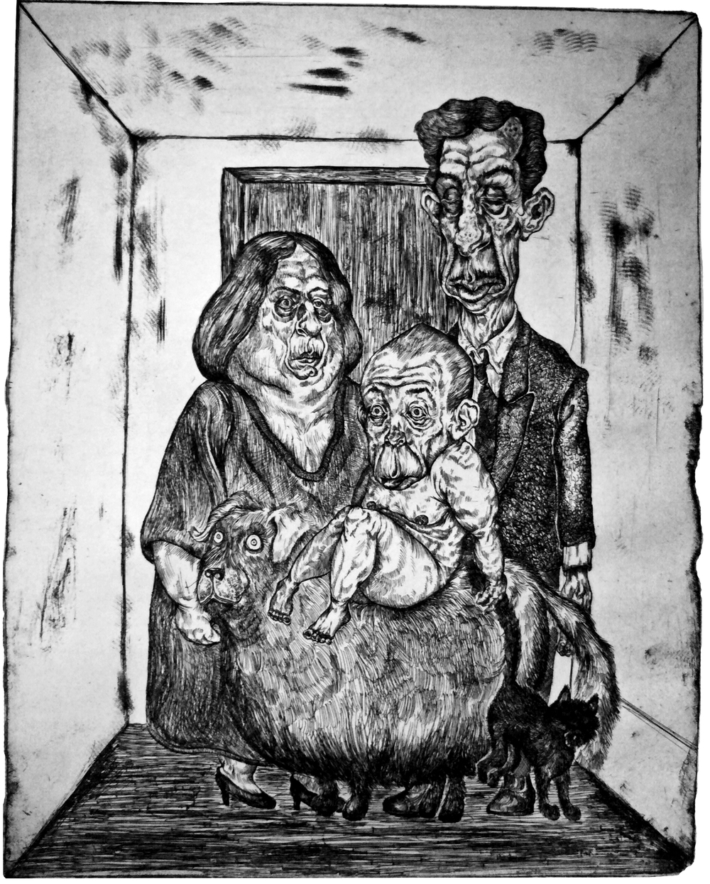 Portrait of a Family  Hard Ground Etching on Paper, 11x14 plate 2012