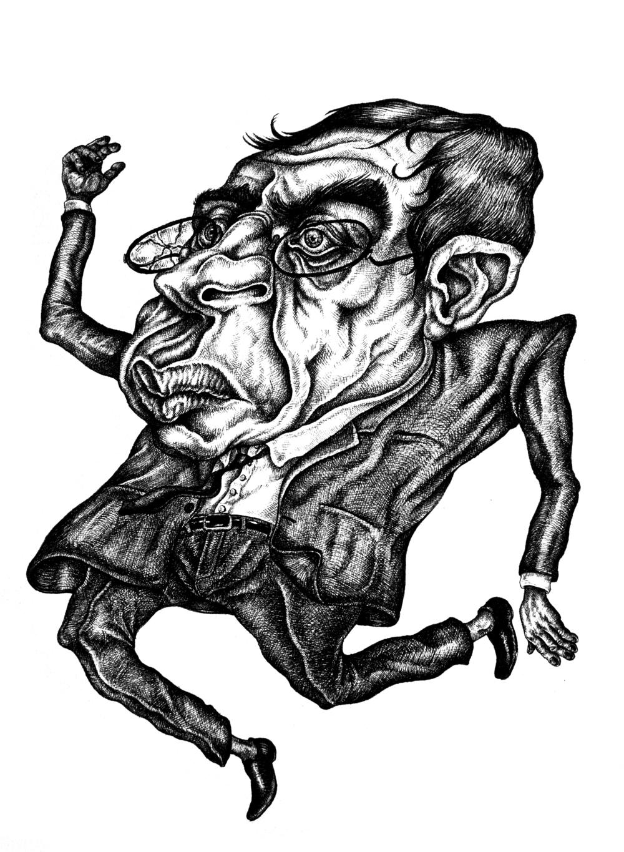 Falling Man  Pen & Ink on paper, 11x14 2013