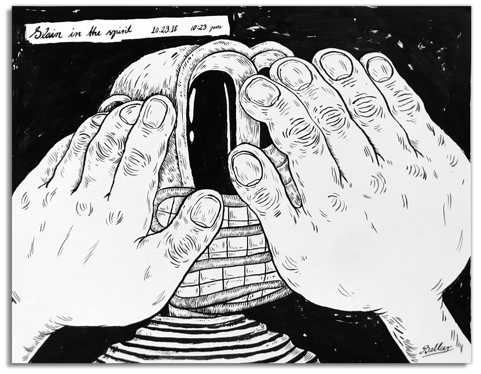 Slain in the Spirit  Pen & Ink on paper, 14x11 2018