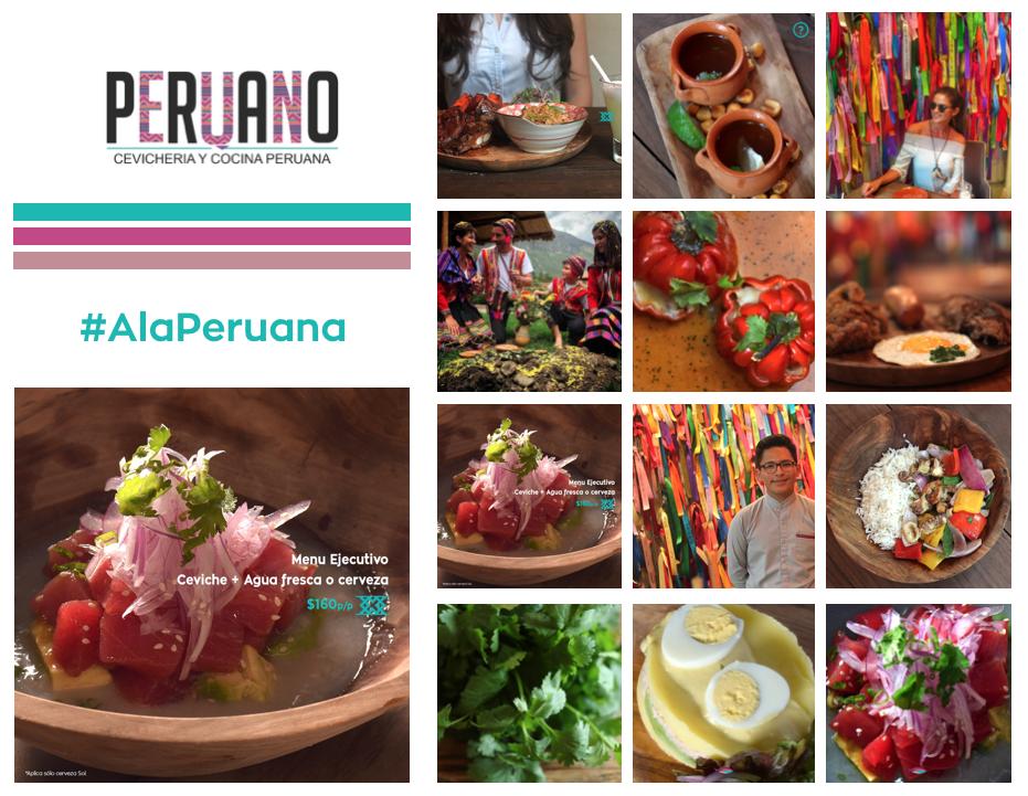 Peruano. Cevicheria y cocina Peruana Diseño orgánico y lleno de colores típicos de Perú
