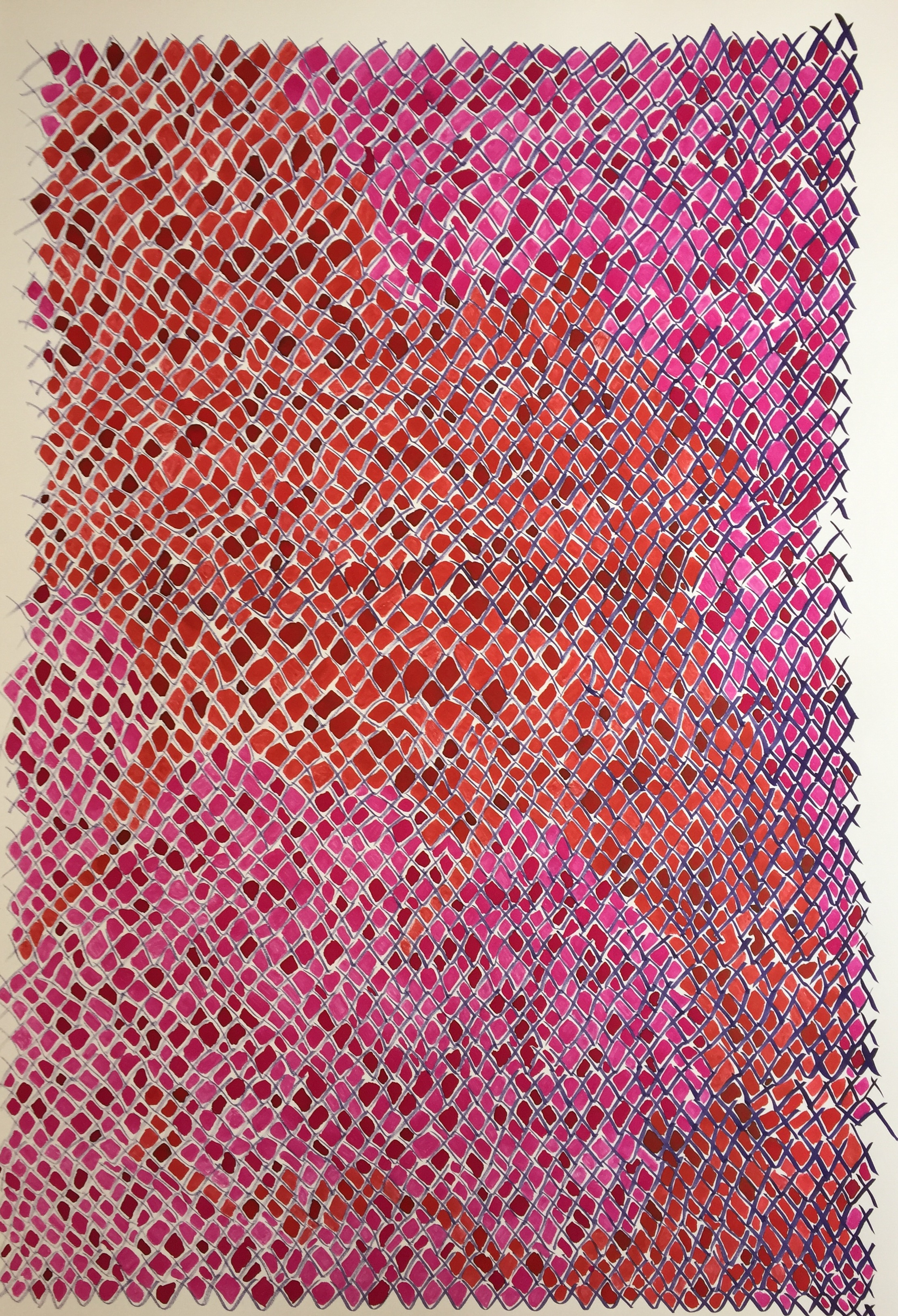 "Untitled, fiber reactive dye on paper, 25""x38"", 2016."