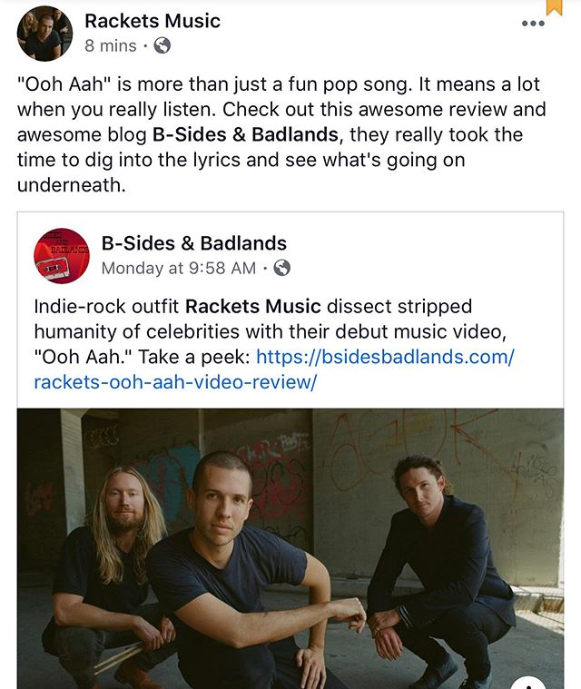 I love it when people take the time to listen to lyrics. One of the pillars of this band is juxtaposing the sound and the meaning of the songs, so they are fun and good to dance to but make you think later. Thank you @bsidesbadlands for really diving into this song and writing such an awesome review for us, we really see you and appreciate it, everyone go check out this awesome blog rn! Link to the full review is going on the website 👆❤️. #listentothelyrics #indiemusicblog #bsidesbadlands #rackets 📽 @alexandriajackson
