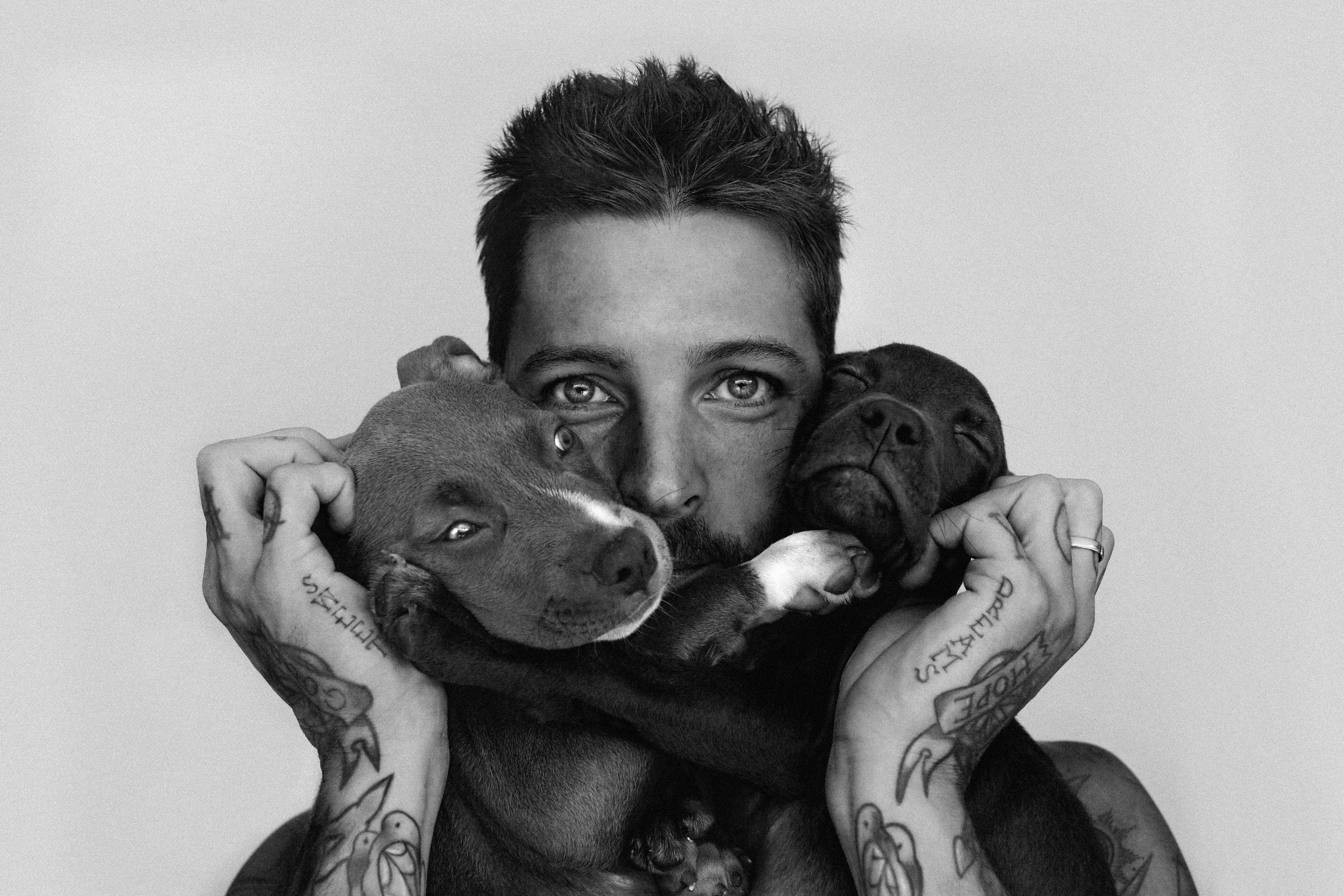 SHANE & THE PUPPIES - Male Model @shaneburnell with Pitt Bull Puppies Photo Shoot Story shot in Bali by Alyssa Risley - IG @alyssarisley (Black and White)
